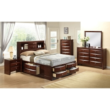 Cambridge Orleans Storage 5-Piece Bedroom Suite: Queen Bed, Dresser, Mirror, Chest and Nightstand - 98126A5Q1-CH