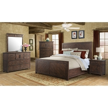 Cambridge Montana Storage 5-Piece Bedroom Suite: King-Size Bed,Dresser,Mirror,Chest and Nightstand - 98127A5K1-WA