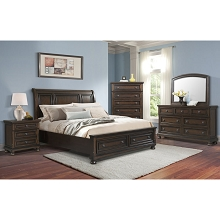 Cambridge Nassau Storage 5-Piece Bedroom Suite: King Bed, Dresser, Mirror, Chest and Nightstand - 98128A5K1-DW