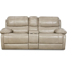 Cambridge Austin Leather Double Reclining Loveseat in Putty - 98525DRL-GR