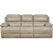 Cambridge Austin Leather Double Reclining Sofa in Putty - 98525DRS-GR