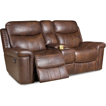 Cambridge Aspen Leather Double Reclining Loveseat in Driftwood - 98526DRL-CO