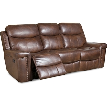 Cambridge Aspen Leather Double Reclining Sofa in Driftwood - 98526DRS-CO