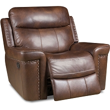 Cambridge Aspen Leather Rocker Recliner in Driftwood - 98526RR-CO