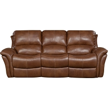 Cambridge Appalachia Leather Double Reclining Sofa in Brown- 98527DRS-BR