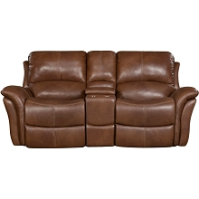 Cambridge Appalachia Leather Double Reclining Loveseat in Brown - 98527GRL-BR