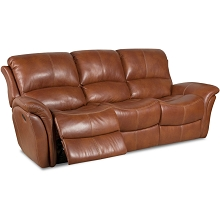 Cambridge Appalachia Leather Double Reclining Sofa in Old Gold - 98527DRS-BR