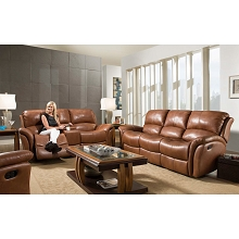 Cambridge Appalachia Leather Double Reclining Loveseat in Old Gold - 98527GRL-BR
