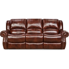 Cambridge Telluride Leather Double Reclining Sofa in Oxblood - 98528DRS-OB