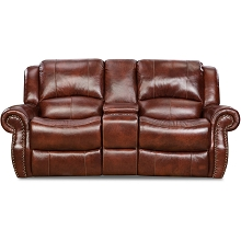 Cambridge Telluride Leather Double Reclining Loveseat in Oxblood - 98528GRL-OB