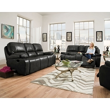 Cambridge Alpine Three-Piece Living Room Set in Black: Sofa, Loveseat, Recliner - 98530A3PC-BK