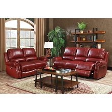 Cambridge Rustic 2-Piece Living Room Set: Sofa and Loveseat - 98533A2PC-WINE