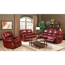 Cambridge Rustic 3-Piece Living Room Set: Sofa, Loveseat and Recliner - 98533A3PC-WINE