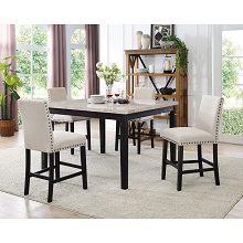 Cambridge Azul 5-Piece Dining Set : Marble Table and Four Fabric Chairs - 99002-F5PC-ES