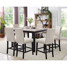 Cambridge Azul 7-Piece Dining Set: Marble Table and Six Fabric Chairs - 99002-F7PC-ES