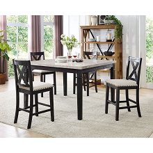 Cambridge Azul 5-Piece Dining Set: Marble Table and Four Wooden Chairs - 99002-W5PC-ES