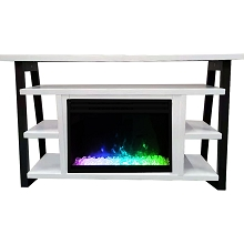 Cambridge 32-In. Sawyer Industrial Electric Fireplace Mantel with Deep Crystal Display and Color Changing Flames, White and Black, CAM5332-1WHTCRS