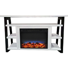 Cambridge 32-In. Sawyer Industrial Electric Fireplace Mantel with Realistic Log Display and LED Color Changing Flames, White and Black, CAM5332-1WHTLED