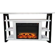 Cambridge 32-In. Sawyer Industrial Electric Fireplace Mantel with Log and Grate Insert and Color Changing Flames, White and Black, CAM5332-1WHTLG2
