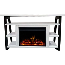 Cambridge 32-In. Sawyer Industrial Electric Fireplace Mantel with Enhanced Log Display and Color Changing Flames, White and Black, CAM5332-1WHTLG3