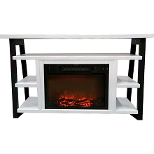 Cambridge 32-In. Sawyer Industrial Electric Fireplace Mantel with Realistic Log Display and Color Changing Flames, White and Black, CAM5332-1WHT