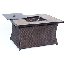 Woven 40,000 BTU Fire Pit Coffee Table with Porcelain Tile-Top - COFFEETBLFP-TILE