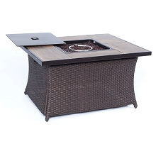 Woven 40,000 BTU Fire Pit Coffee Table with Woodgrain Tile-Top - COFFEETBLFP-WG