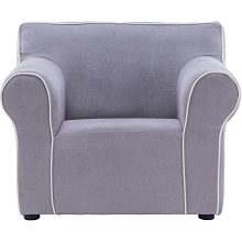 Critter Sitters 23-In. Grey Plush Children's Mini Chair with Piping - Furniture for Nursery, Bedroom, or Playroom, CSCHLDCHR-GRY