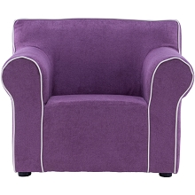 Critter Sitters 23-In. Purple Plush Children's Mini Chair with Piping - Furniture for Nursery, Bedroom, or Playroom, CSCHLDCHR-PUR
