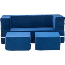 Critter Sitters Modular Microfiber Sofa for Children's Playroom, Navy, CSCHLDSOFA-NVY