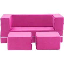 Critter Sitters Modular Microfiber Sofa for Children's Playroom, Pink, CSCHLDSOFA-PNK