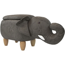 Critter Sitters 15-In Seat Height Dark Gray Elephant Animal Shape Storage Ottoman Furniture for Nursery, Bedroom, Playroom, Living Room Decor, CSELESTOTT-DKGRY2