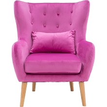 Critter Sitters Faux Velvet Wingback Accent Chair with Wooden Legs, Pink, CSVELCHR-PNK