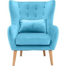 Critter Sitters Faux Velvet Wingback Accent Chair with Wooden Legs, Teal, CSVELCHR-TEAL