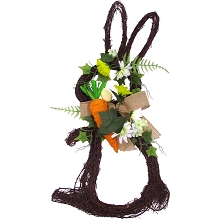 Fraser Hill Farm 18-inch Twig Bunny Wreath Door Hanging with Tulips and Carrot, FF018EAWR001-0GR