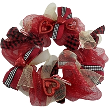 Fraser Hill Farm 20-In. Valentine's Day Ribbon Wreath Door or Wall Hanging with Shatterproof Hearts and Buffalo Plaid Bows, FF020VTWR001-0RED