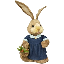 Fraser Hill Farm 34-In. Sisal Mrs. Bunny with Carrot Basket, Cute Easter Rabbit Figurine, Spring Decoration, FHSPBNNY034-BRW1