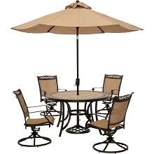 Fontana 5PC Outdoor Dining Set with 4 Swivel Rockers, 51 In. Tile-top Table and Umbrella - FNTDN5PCSWTN-SU