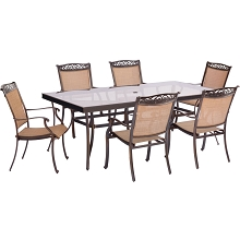 Fontana 7PC Dining Set with 6 Dining Chairs and an XL Glass-top Table - FNTDN7PCG