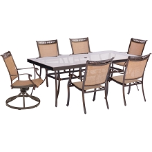 Fontana 7PC Dining Set with 4 Chairs, 2 Swivel Rockers, and an XL Glass-Top Table - FNTDN7PCSWG-2
