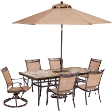 Fontana 7PC Dining Set with 2 Swivel Rockers, 4 Dining Chairs, Tile-Top Table, Umbrella and Stand - FNTDN7PCSWTN2-SU