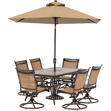 Fontana 7PC Dining Set with 6 Swivel Rockers, Tile-Top Table, 9 Ft. Umbrella and Stand - FNTDN7PCSWTN-SU