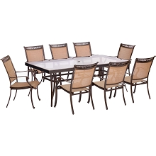 Fontana 9PC Dining Set with 8 Dining Chairs and an XL Glass-Top Table - FNTDN9PCG