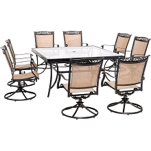 Fontana 9PC Dining Set with Eight Swivel Rockers and a 60 In. Square Dining Table - FNTDN9PCSWSQG