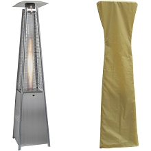 Hanover 7-Ft. 42,000 BTU Pyramid Propane Patio Heater in Stainless Steel with Weather-Protective Cover, HAN102SS-CV