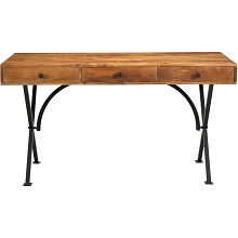 Hanover Lille Mango Wood and Iron Desk with 3 Storage Drawers, 54-In. W x 22-In. D x 29-In. H, HLR002-NAT