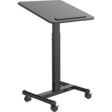Hanover 21-In. Wide Black Rolling Desk with Adjustable Height and Bag Hook, HSD0408-BLK