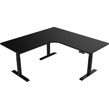 Hanover 73-In. L-Shaped Sit or Stand Electric Height Adjustable Desk with Triple Motor System, Black, HSD0452-BLK