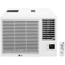 LG 11,500/12,000 BTU 230V Window-Mounted Air Conditioner with 9,200/11,200 BTU Supplemental Heat Function, LW1216HR