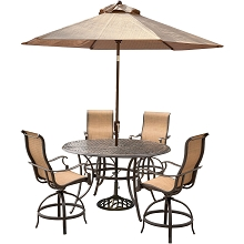 Hanover Manor 5-Piece High-Dining Set with 4 Swivel Chairs, a 56 In. Cast-top Table, and a 9 Ft. Umbrella with Stand - MANDN5PCBR-SU